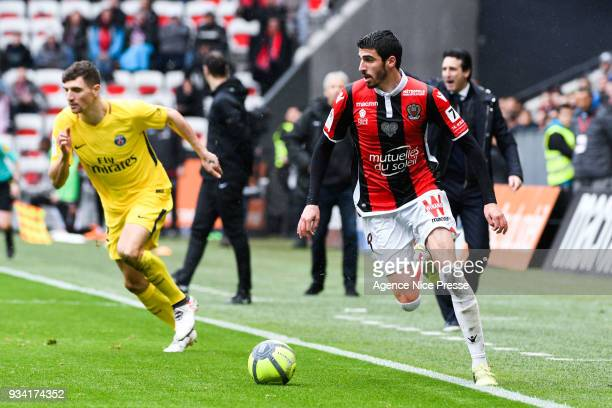 Pierre LeesMelou of Nice during the Ligue 1 match between OGC Nice and Paris Saint Germain at Allianz Riviera on March 18 2018 in Nice