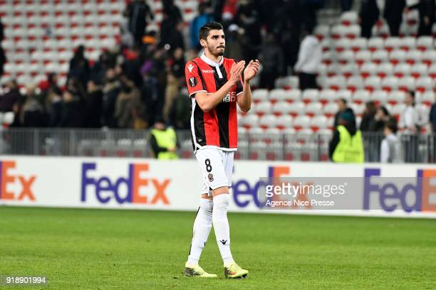 Pierre Lees-Melou of Nice salutes the fans during the Europe League match between Nice and Lokomotiv Moscow at Allianz Riviera on February 15, 2018...