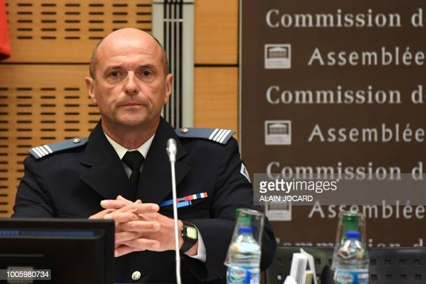 Pierre Leleu chief Superintendent and unit commander of CRS 15 de Bethune is questioned before the Senate Law Commission in Paris on July 27 2018 in...