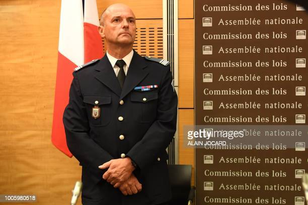 Pierre Leleu chief Superintendent and unit commander of CRS 15 de Bethune arrives to speak before the Senate Law Commission in Paris on July 27 2018...