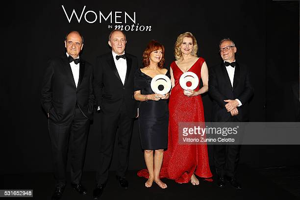 Pierre Lescaut Francois Henry Pinault Susan Sarandon Geena Davis and Thierry Fremeaux attend the Award Ceremony during Kering And Cannes Festival...