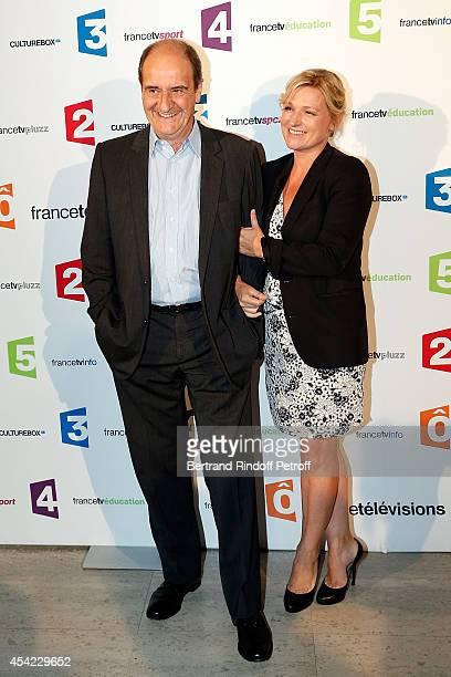 Pierre Lescure and AnneElisabeth Lemoine attend the 'Rentree De France Televisions' at Palais De Tokyo on August 26 2014 in Paris France