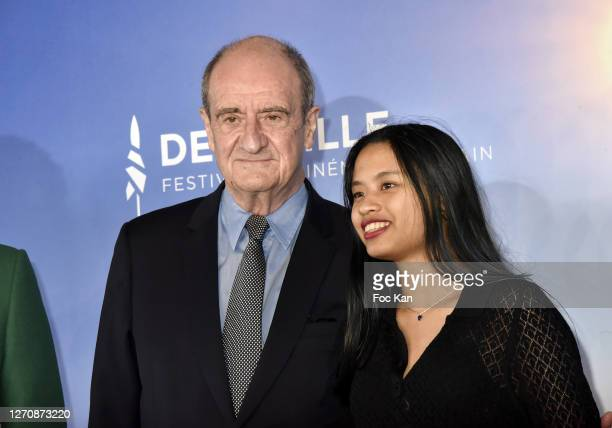 """Pierre Lescure and his daughter Anna attend the """"Pierre & Lescure"""" photocall at 46th Deauville American Film Festival on September 05, 2020 in..."""
