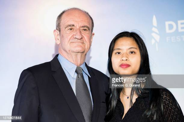 """Pierre Lescure and his daughter Anna Lescure attend the """"Pierre & Lescure"""" photocall at 46th Deauville American Film Festival on September 05, 2020..."""