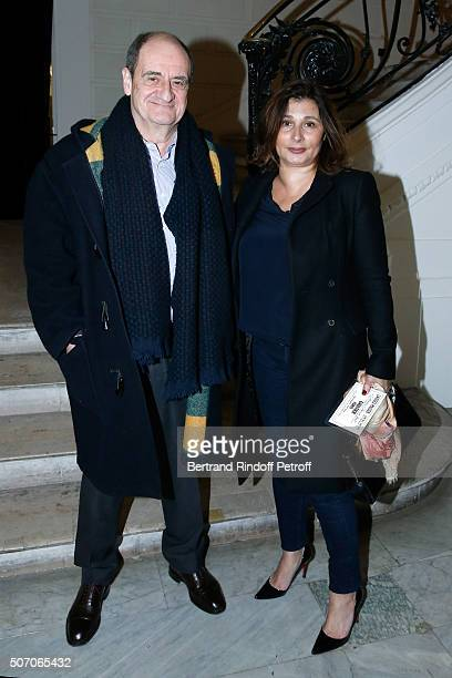 Pierre Lescure and his wife Frederique attend the Jean Paul Gaultier Spring Summer 2016 show as part of Paris Fashion Week on January 27 2016 in...
