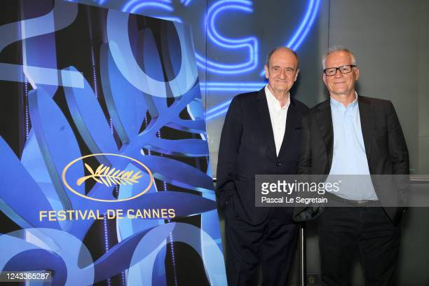 Pierre Lescure and Thierry Fremaux attend the 73rd Cannes Film Festival Official Selection Presentation on June 03 2020 in Paris France