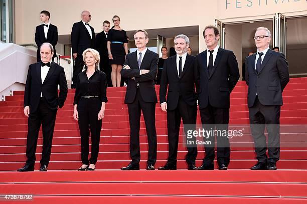 Pierre Lescure Frederique Bredin Christophe Rossignon Stephane Brize Vincent Lindon and Thierry Fremaux attend the Premiere of La Loi Du Marche...