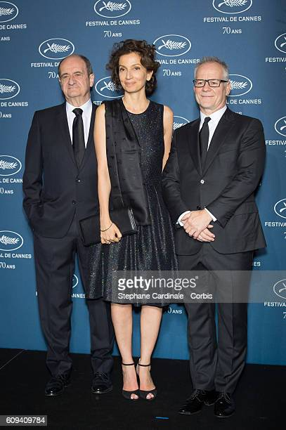 Pierre Lescure French Minister of Culture Audrey Azoulay and Thierry Fremaux attend the 'Cannes Film Festival 70th Anniversary Party' at Palais Des...