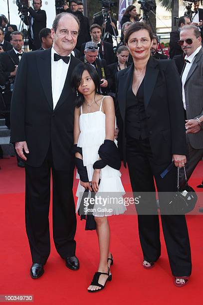 Pierre Lescure his daughter Anna Lescure and his wife Frederique Lescure attend the Palme d'Or Award Closing Ceremony held at the Palais des...