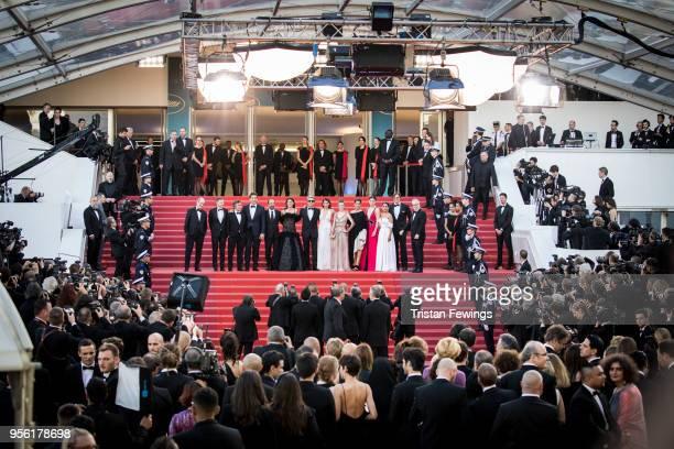Pierre Lescure producer Alexandre MalletGuy actors Eduard Fernandez Javier Bardem director Asghar Farhadi actress Penelope Cruz wearing jewels by...