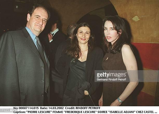 """Pierre Lescure wife """"Frederique Lescure"""" """"Isabelle Adjani"""" party at Castel in Paris."""