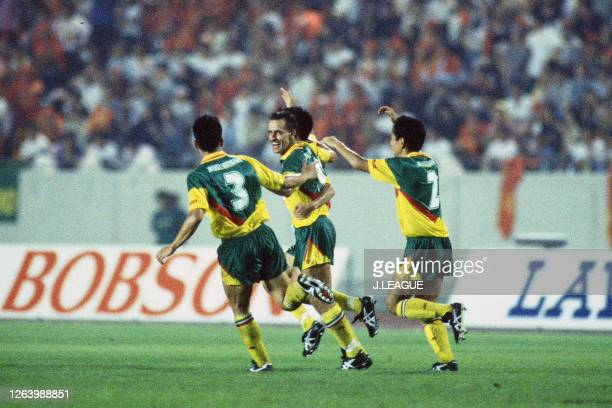 Pierre Littbarski of JEF United Ichihara celebrates scoring his side's first goal with his team mates during the J.League Suntory Series match...