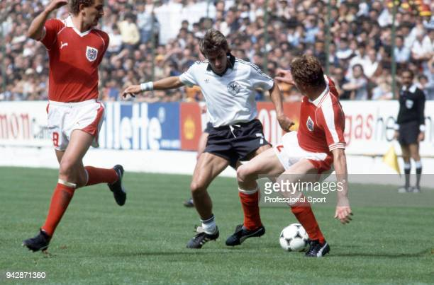 Pierre Littbarski of West Germany in action during the 1982 FIFA World Cup group match between West Germany and Austria at the El Molinón on June 25...