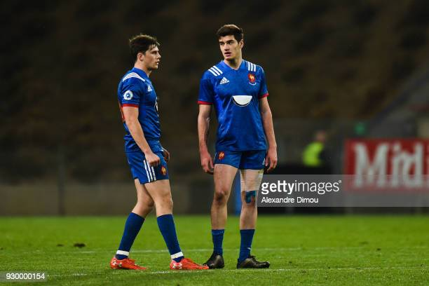 Pierre Louis Barassi and Iban Etcheverry of France during the RBS Six Nations match between France and England at Stade de la Mediterranee on March 9...