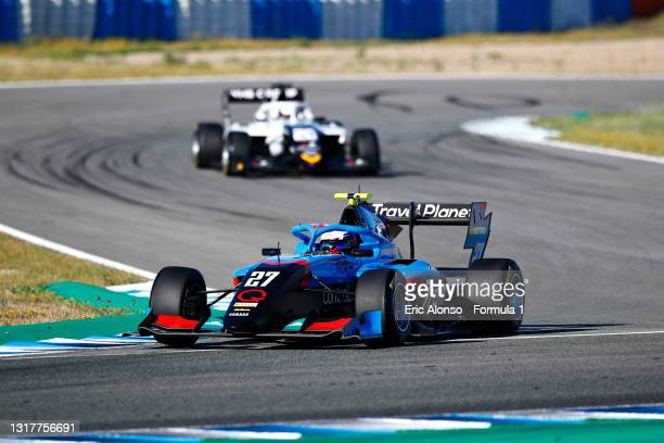 Pierre Louis Chovet of France and Jenzer Motorsport drives during day two of Formula 3 Testing at Circuito de Jerez on May 13, 2021 in Jerez de la...