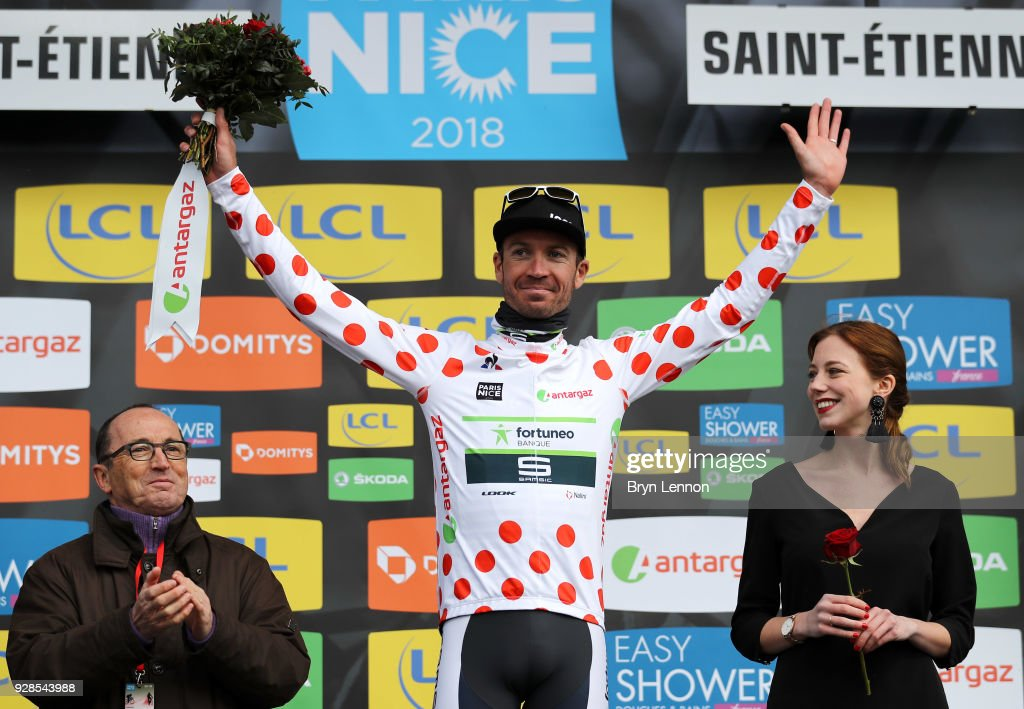 Pierre Luc Perichon of France and Fortuneo-Samsic Polka Dot Mountain Jersey celebrates on the podium during the 76th Paris - Nice 2018 / Stage 4 an Individual Time Trial of 18,4km from La Fouillouse to Saint-Etienne on March 7, 2018 in Saint-Etienne, France.