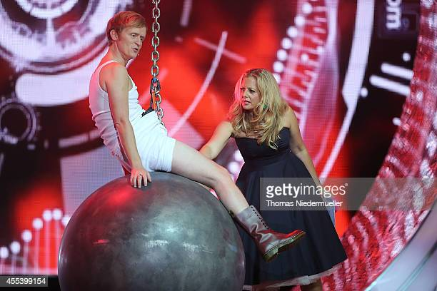 Pierre M Krause and Barbara Schoeneberger are seen during the SWR3 New Pop Festival 'Das Special' at Festspielhaus on September 13 2014 in BadenBaden...