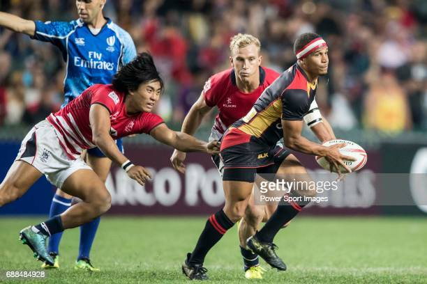 Pierre Mathurin of Germany in action during their World Rugby Sevens Series Qualifier match between Germany and Hong Kong as part of the HSBC Hong...