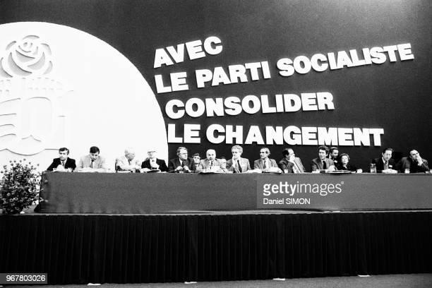 Pierre Mauroy Lionel Jospin Paul Quilès et Pierre Joxe lors de la convention nationale du Parti Socialiste à Suresnes le 13 février 1982 France