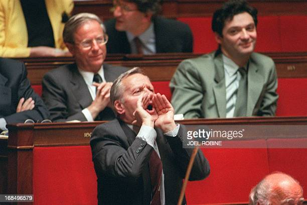 Pierre Mazeaud French neogaullist RPR MP addresses Parliament 05 Mai 1992 in the French Parliament in Paris during the Maastricht Treaty hearings At...