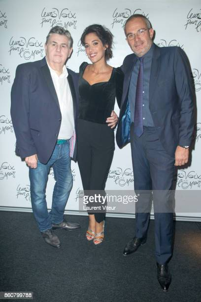 Pierre Menes Laurie Cholewa and Laurent Weil attend 'Leurs Voix Pour L'Espoir 2017' at L'Olympia on October 12 2017 in Paris France