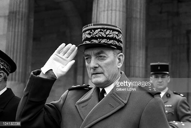 Pierre Messmer Michel Jobert General Galley General Alain visit school Hautes Etudes Militaires in Paris France on March 19 1974 General Alain de...