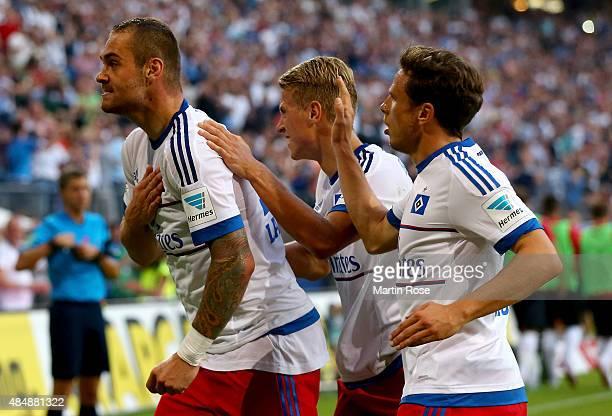 Pierre Michel Lasogga of Hamburg celebrates after he scores the equalizing goal during the Bundesliga match between Hamburger SV and VfB Stuttgart at...