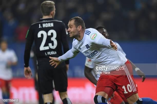 Pierre Michel Lasogga of Hamburg celebrates after scoring his team's first goal during the Second Bundesliga match between Hamburger SV and 1 FC...