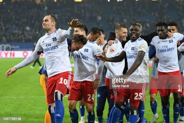 Pierre Michel Lasogga of Hamburg celebrates victory after the Second Bundesliga match between Hamburger SV and 1 FC Koeln at Volksparkstadion on...