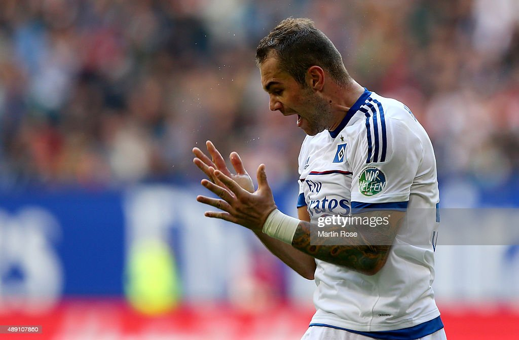 Pierre Michel Lasogga of Hamburg reacts during the Bundesliga match between Hamburger SV and Eintracht Frankfurt at Volksparkstadion on September 19, 2015 in Hamburg, Germany.