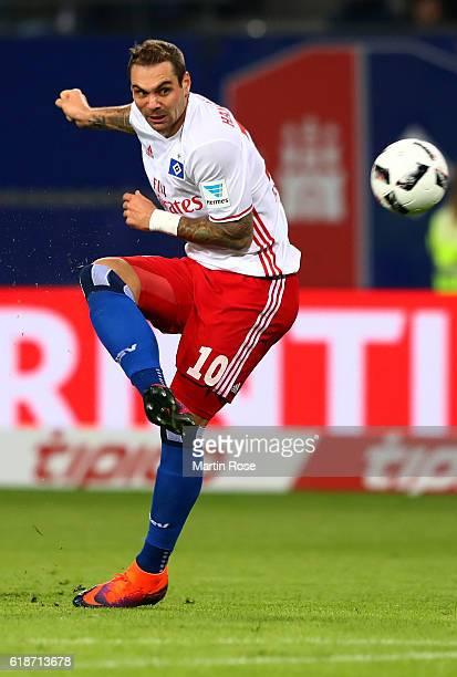 Pierre Michel Lasogga of Hamburg runs with the ball during the Bundesliga match between Hamburger SV and Eintracht Frankfurt at Volksparkstadion on...