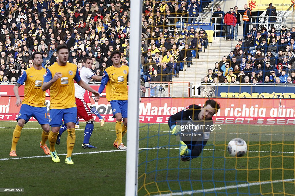 Pierre Michel Lasogga of Hamburg scoring their first goal during the Bundesliga match between Eintracht Braunschweig and Hamburger SV at Eintracht Stadion on February 15, 2014 in Braunschweig, Germany.