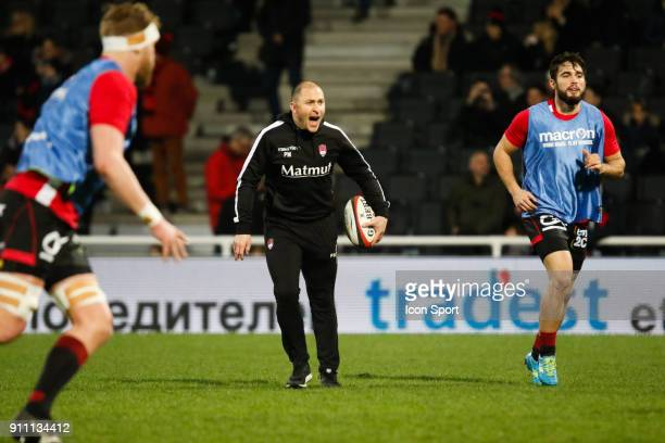 Pierre Mignoni Coach of Lyon and Alexis Palisson of Lyon during the Top 14 match between Lyon and Agen at Gerland Stadium on January 27 2018 in Lyon...