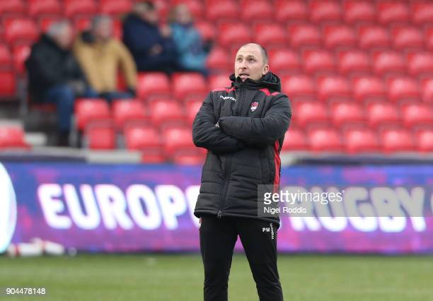 Pierre Mignoni coach of Lyon during the European Rugby Challenge Cup match between Sale Sharks and Lyon at the AJB Stadium on January 13 2018 in...