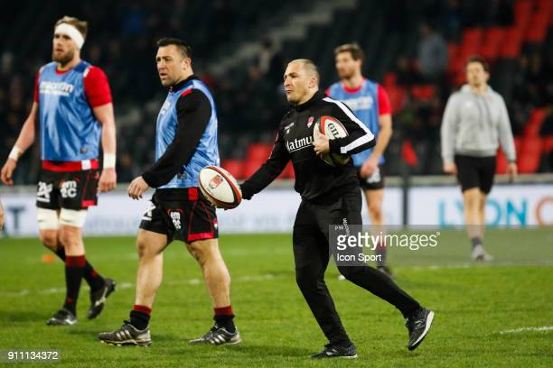 Pierre Mignoni Coach of Lyon during the Top 14 match between Lyon and Agen at Gerland Stadium on January 27 2018 in Lyon France
