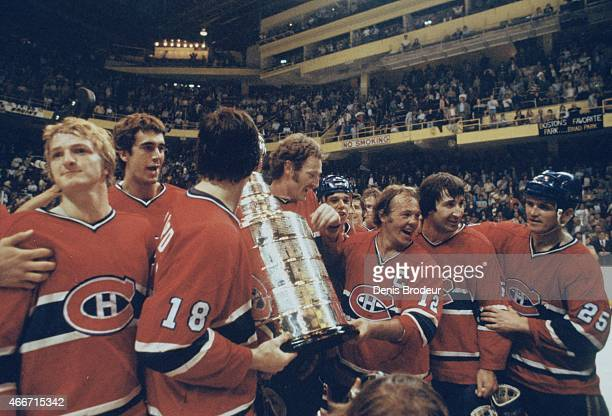 Pierre Mondou Gilles Lupien Serge Savard Larry Robinson Pierre LaRouche Yvan Cournoyer Guy Lapointe and Jacques Lemaire of the Montreal Canadiens...