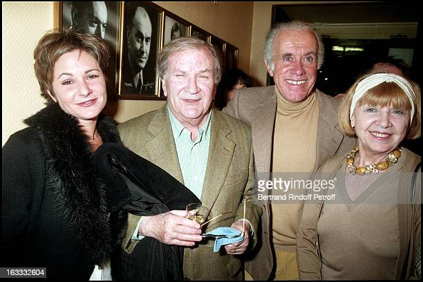 Pierre Mondy and daughter Anne Jacques Balutin and wife at The 500th Performance Of The Show Si Je Peux Me Permettre At The Theatre Des Nouveautes In...