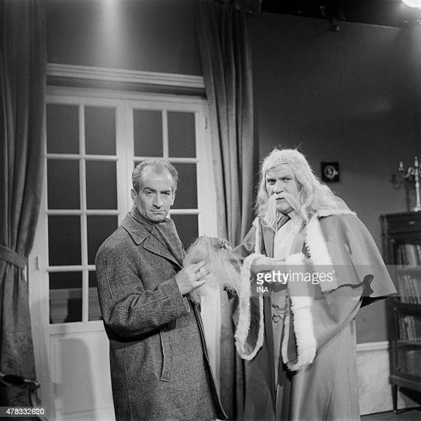 Pierre Mondy and Louis de Funs in a sketch for the entertainment program ''Christmas Day''