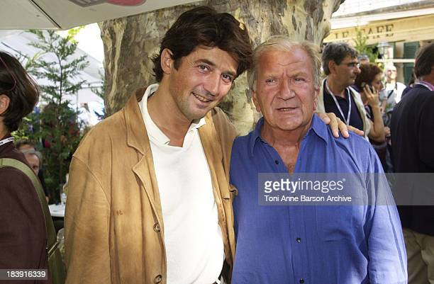Pierre Mondy Bruno Madinier during SaintTropez Fiction Television Festival 2001 Pierre Mondy Bruno Madinier Portraits at Place des Lices in...