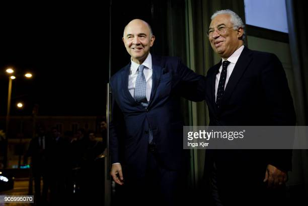 Pierre Moscovici EU Commissioner and Antonio Costa Prime Minister of Portugal in the course of the PES party congress on December 01 2017 in Lisbon...