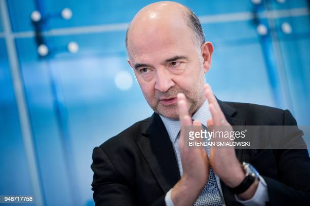Pierre Moscovici, European Commission commissioner for economic and financial affairs, taxation and customs, speaks at the American Enterprise...