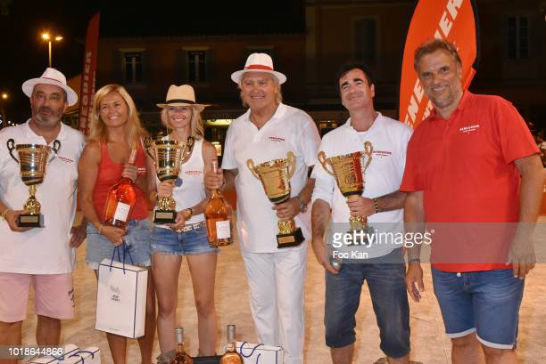 Actress Mathilde Laffont and her thibetan dog Talung attend the 'Trophee Senequier 2018' at Place des Lices SaintTropez On French Riviera on August...