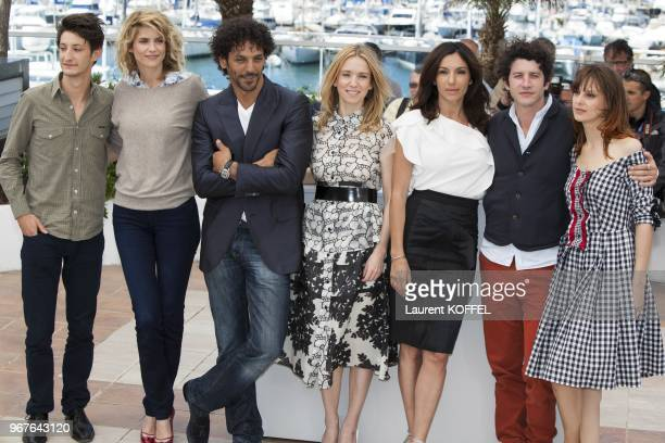 Pierre Niney Alice Taglioni Tomer Sisley Lea Drucker Aure Atika Clement Sibony and Elodie Navarre attend the photocall for 'Jeunes Talents Adami'...