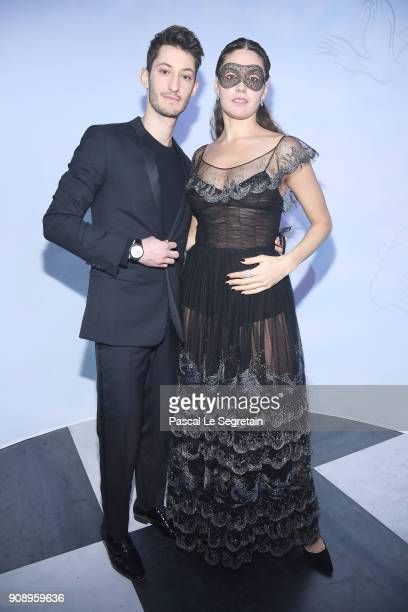 Pierre Niney and Natasha Andrews attend Le Bal Surrealiste Dior during Haute Couture Spring Summer 2018 show as part of Paris Fashion Week on January...