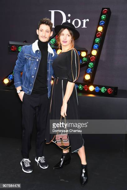 Pierre Niney and Natasha Andrews attend the Christian Dior Haute Couture Spring Summer 2018 show as part of Paris Fashion Week on January 22 2018 in...