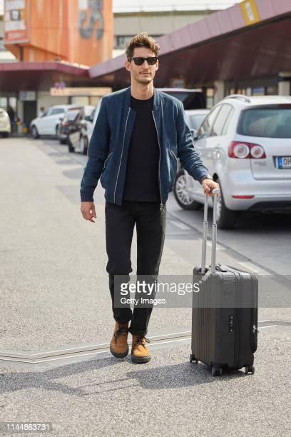 Pierre Niney is seen arriving at Berlin Tegel airport on April 23, 2019 in Berlin, Germany.