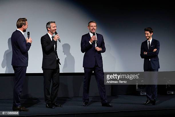 Pierre Niney Lambert Wilson Jerome Salle and moderator Steven Gaetjen are seen on stage of the 'L'Odyssee' premiere during the 12th Zurich Film...