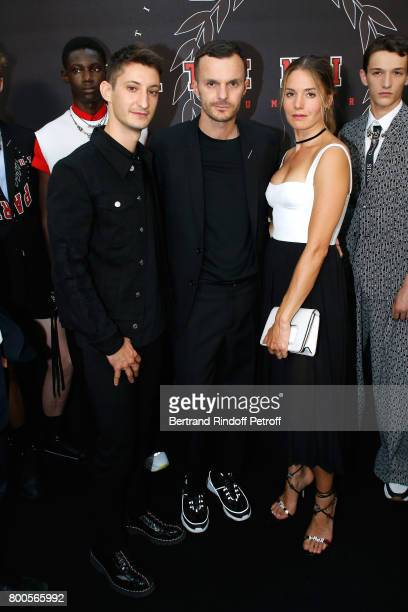 Pierre Niney Stylist Kris Van Assche and Natasha Andrews pose Backstage after the Dior Homme Menswear Spring/Summer 2018 show as part of Paris...