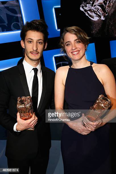 Pierre Niney who received the award for Best Actor in 'Yves Saint Laurent' and Adele Haenel who received the award of Best Actress in 'Les...