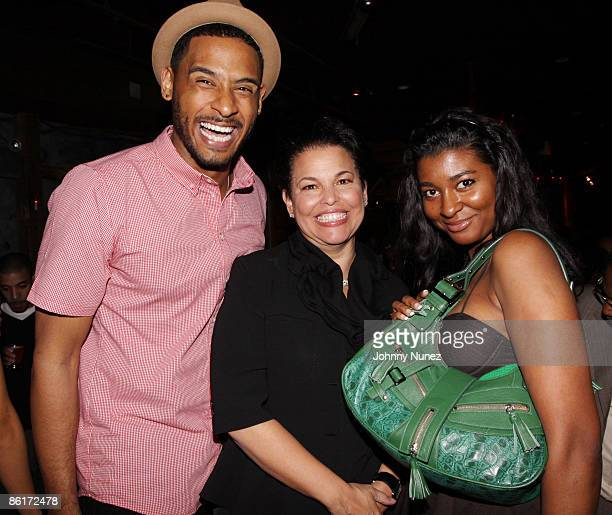 Pierre of Harlem Heights Debra Lee and Briana of Harlem Heights attend Terrence J's birthday party at Retreat on April 21 2009 in New York City